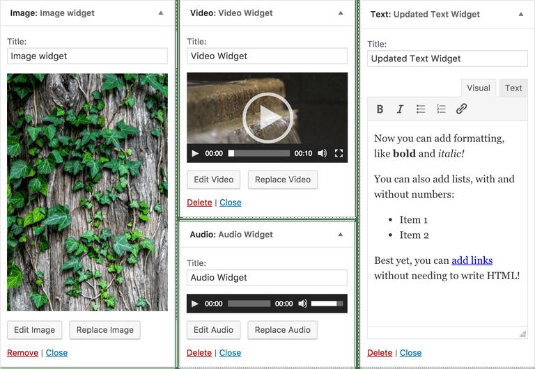 nieuwe widgets in WordPress 4.8